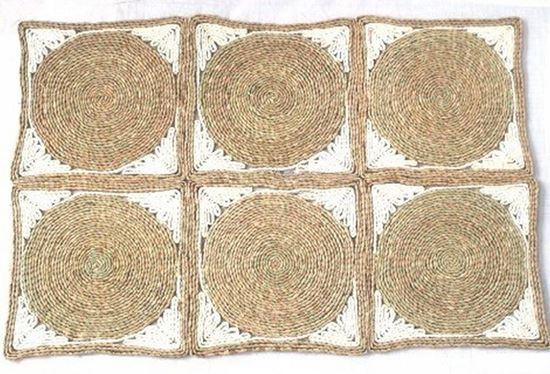 Obrázek z Rohož na podlahu - kukuřičná 60x90 - vzor kruh