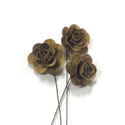 Obrázek Deco růže malá - přírodní, na stonku (25ks)