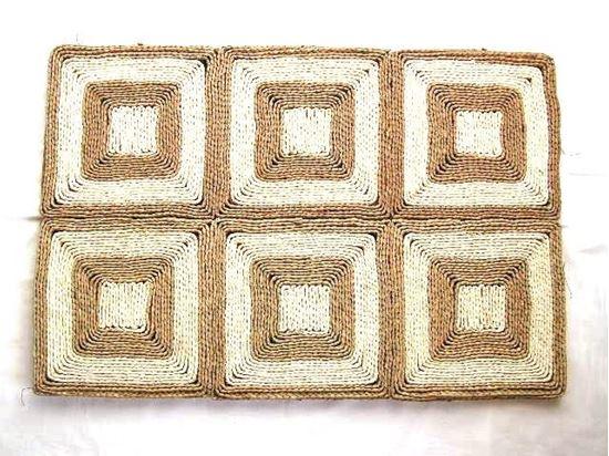 Obrázek z Rohož na podlahu - kukuřičná 90x150 - vzor čtverec